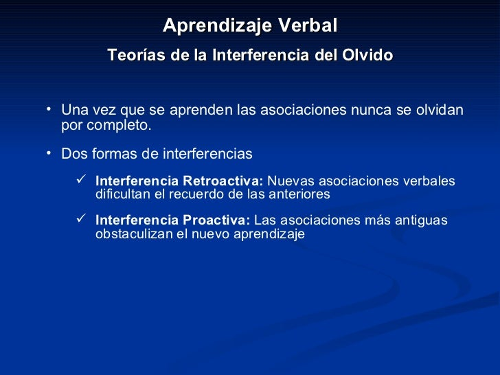<ul><li>Aprendizaje Verbal </li></ul><ul><li>Teorías de la Interferencia del Olvido </li></ul><ul><li>Una vez que se apren...