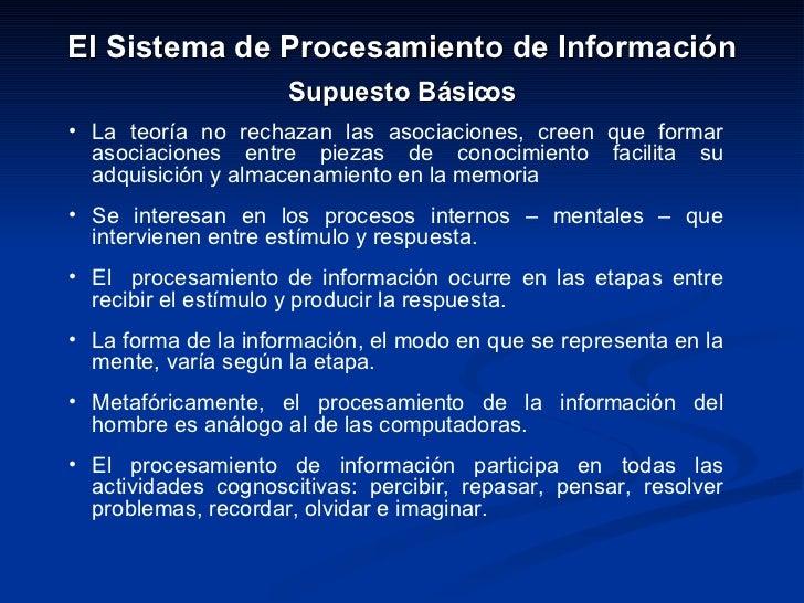 <ul><li>El Sistema de Procesamiento de Información </li></ul><ul><li>Supuesto Básicos </li></ul><ul><li>La teoría no recha...