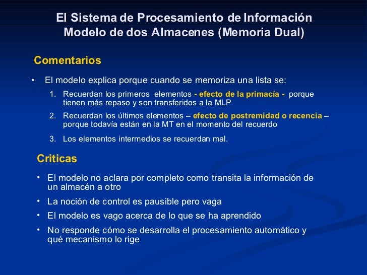 El Sistema de Procesamiento de Información Modelo de dos Almacenes (Memoria Dual) Comentarios <ul><li>El modelo explica po...