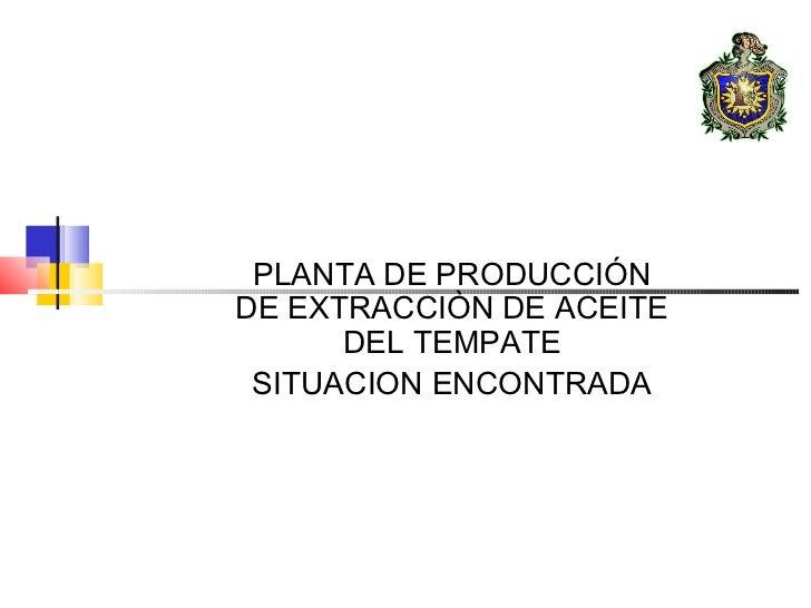 PLANTA DE PRODUCCIÓNDE EXTRACCIÒN DE ACEITE      DEL TEMPATE SITUACION ENCONTRADA