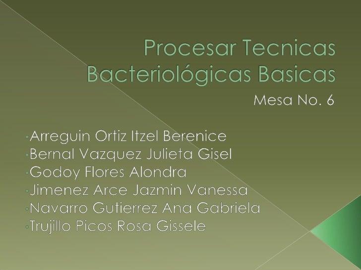 Procesar Tecnicas BacteriológicasBasicas<br />Mesa No. 6<br /><ul><li>Arreguin Ortiz ItzelBerenice