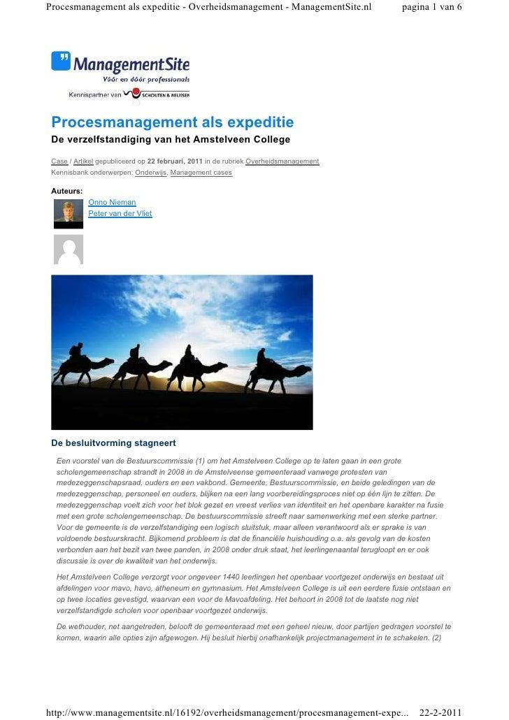 Procesmanagement als expeditie - Overheidsmanagement - ManagementSite.nl                              pagina 1 van 6 Proce...