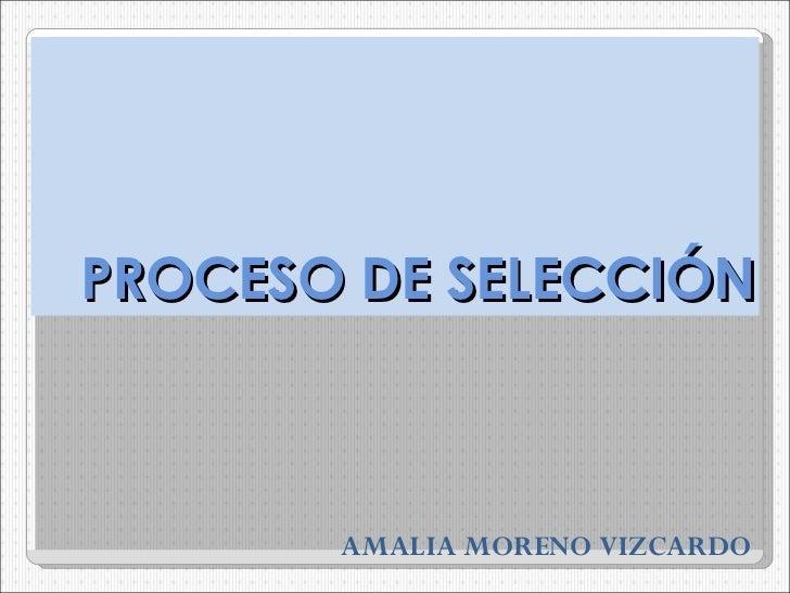 PROCESO DE SELECCIÓN AMALIA MORENO VIZCARDO