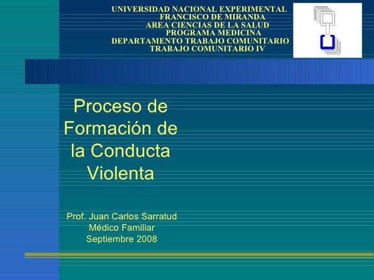 Proceso de Formación de la Conducta Violenta UNIVERSIDAD NACIONAL EXPERIMENTAL    FRANCISCO DE MIRANDA   AREA CIENCIAS DE ...