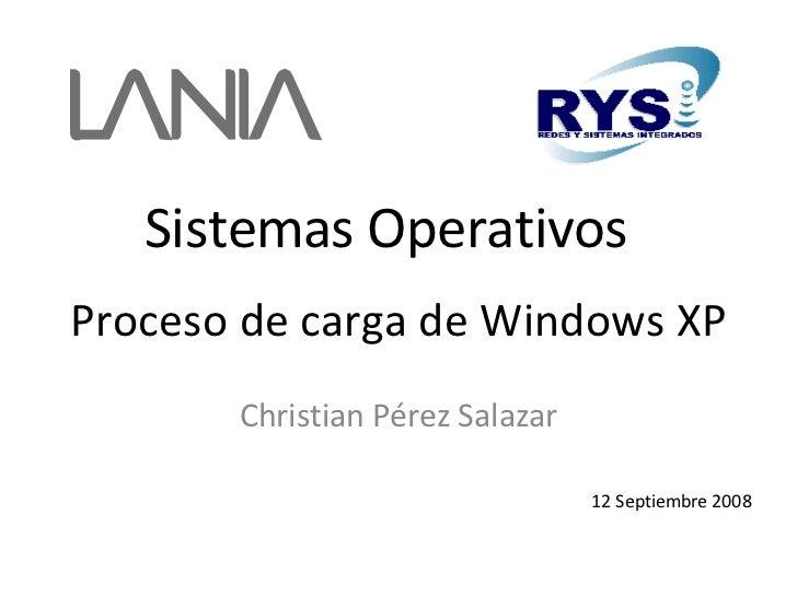 Proceso de carga de Windows XP Christian Pérez Salazar 12 Septiembre 2008 Sistemas Operativos