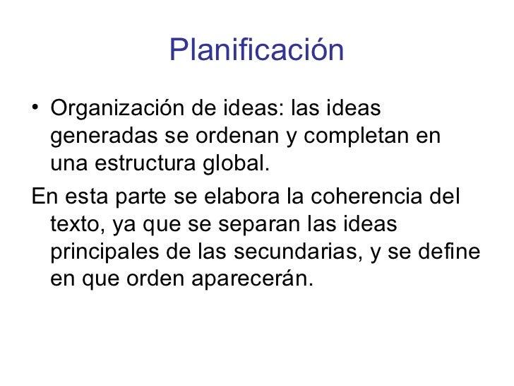 Planificación <ul><li>Organización de ideas: las ideas generadas se ordenan y completan en una estructura global.  </li></...