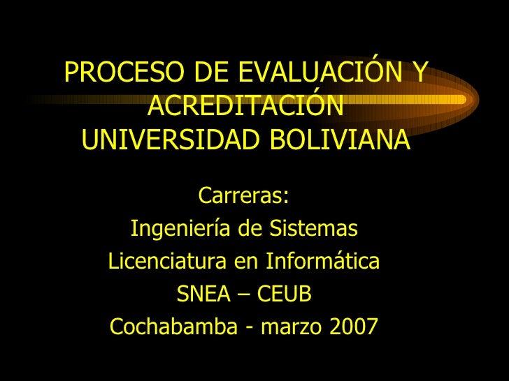 PROCESO DE EVALUACIÓN Y ACREDITACIÓN UNIVERSIDAD BOLIVIANA Carreras: Ingeniería de Sistemas Licenciatura en Informática SN...