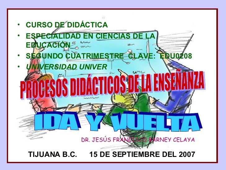 <ul><li>CURSO DE DIDÁCTICA </li></ul><ul><li>ESPECIALIDAD EN CIENCIAS DE LA EDUCACIÓN </li></ul><ul><li>SEGUNDO CUATRIMEST...