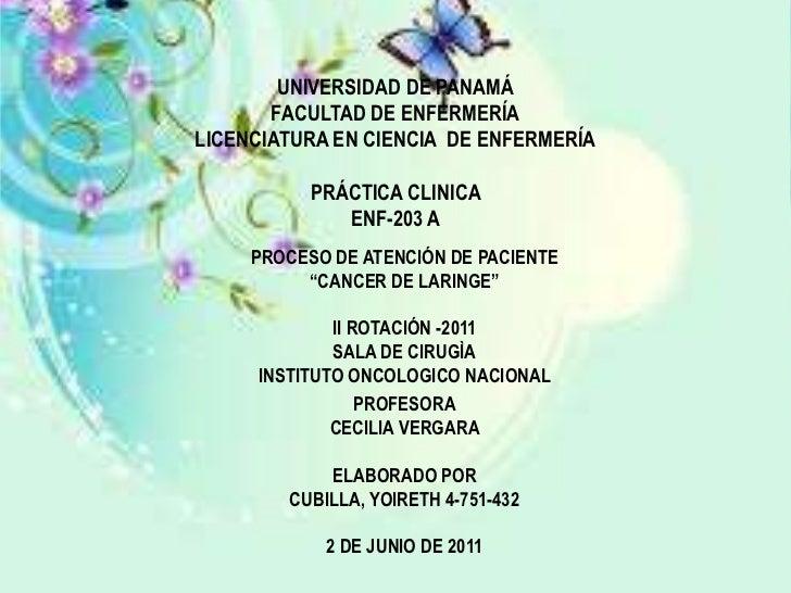 UNIVERSIDAD DE PANAMÁFACULTAD DE ENFERMERÍALICENCIATURA EN CIENCIA  DE ENFERMERÍAPRÁCTICA CLINICA ENF-203 A <br />PROCES...