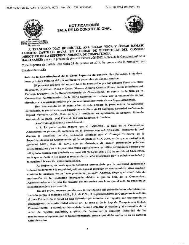 Sentencia en proceso de amparo 206-2012