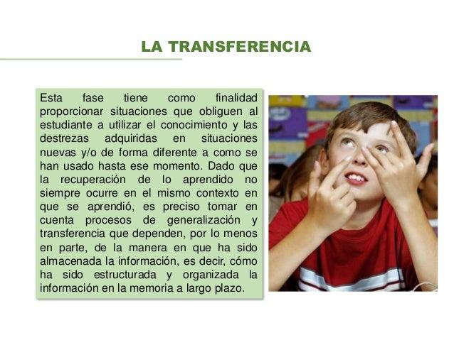 LA TRANSFERENCIA Esta fase tiene como finalidad proporcionar situaciones que obliguen al estudiante a utilizar el conocimi...