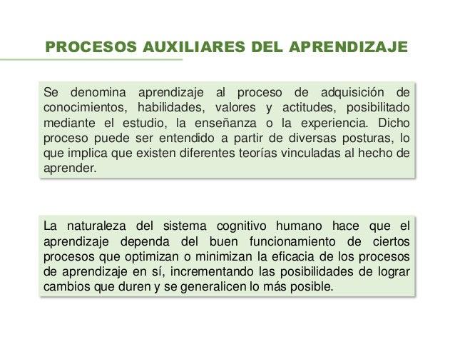 PROCESOS AUXILIARES DEL APRENDIZAJE La naturaleza del sistema cognitivo humano hace que el aprendizaje dependa del buen fu...