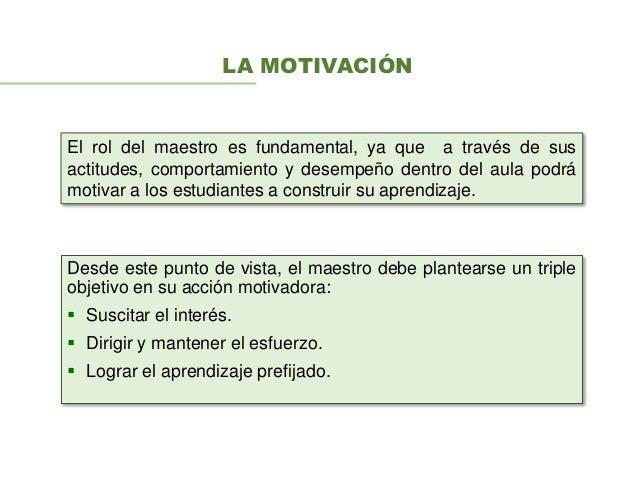 LA MOTIVACIÓN Desde este punto de vista, el maestro debe plantearse un triple objetivo en su acción motivadora:  Suscitar...