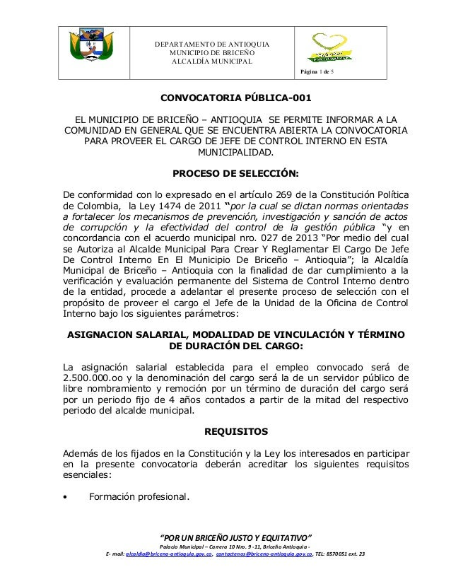 Versión 1  DEPARTAMENTO DE ANTIOQUIA MUNICIPIO DE BRICEÑO ALCALDÍA MUNICIPAL Página 1 de 5  CONVOCATORIA PÚBLICA-001 EL MU...