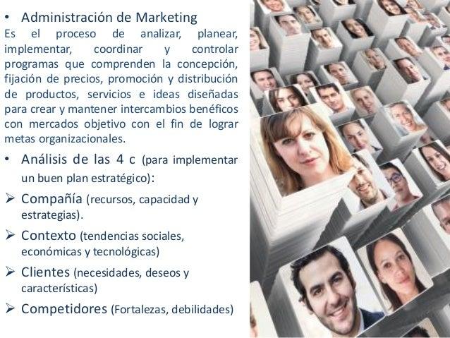 • Administración de Marketing Es el proceso de analizar, planear, implementar, coordinar y controlar programas que compren...