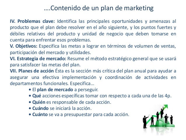 ….Contenido de un plan de marketing IV. Problemas clave: Identifica las principales oportunidades y amenazas al producto q...