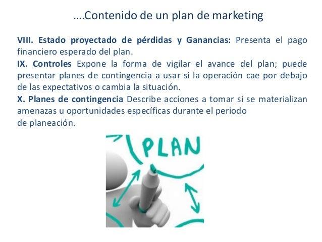 ….Contenido de un plan de marketing VIII. Estado proyectado de pérdidas y Ganancias: Presenta el pago financiero esperado ...