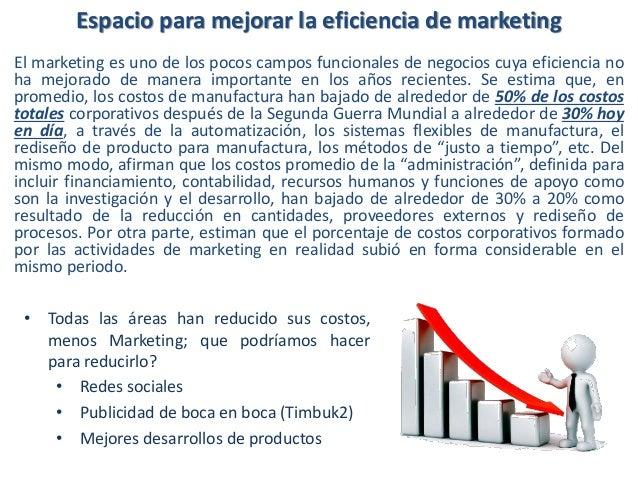 Espacio para mejorar la eficiencia de marketing El marketing es uno de los pocos campos funcionales de negocios cuya efici...