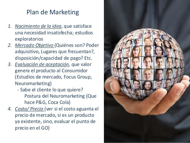 Plan de Marketing 1. Nacimiento de la idea, que satisface una necesidad insatisfecha; estudios exploratorios 2. Mercado Ob...