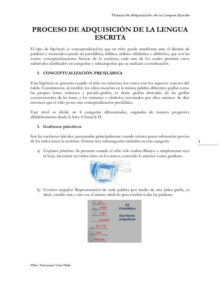 Proceso de Adquisición de la Lengua EscritaPROCESO DE ADQUISICIÓN DE LA LENGUA              ESCRITAEl tipo de hipótesis (o...