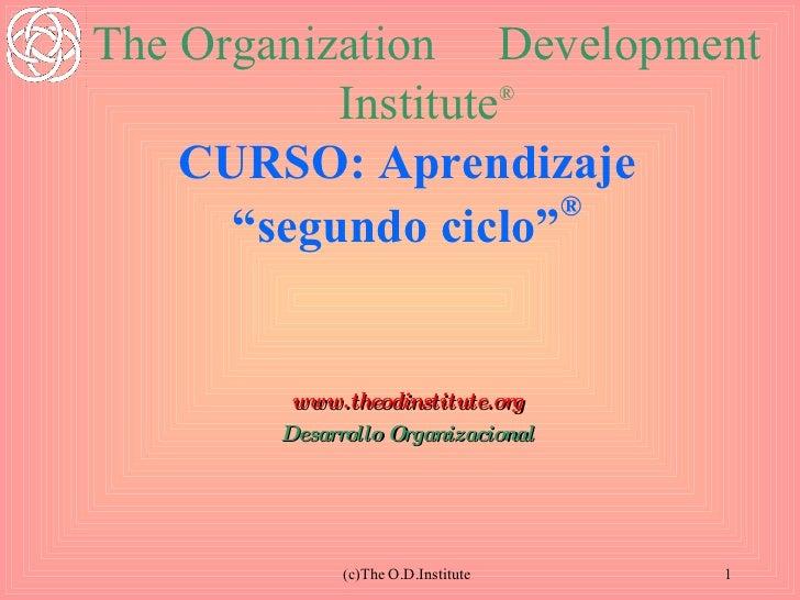 """CURSO: Aprendizaje """"segundo ciclo"""" ® www.theodinstitute.org Desarrollo Organizacional (c)The O.D.Institute The Organizatio..."""