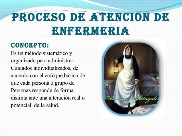 PROCESO DE ATENCION DE ENFERMERIA CONCEPTO: Es un método sistemático y organizado para administrar Cuidados individualizad...
