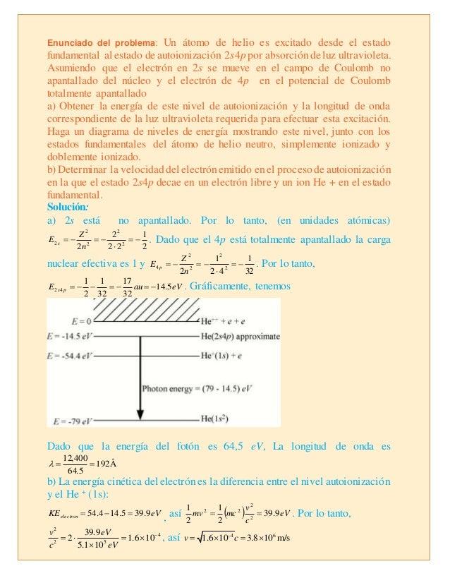 Enunciado del problema: Un átomo de helio es excitado desde el estado fundamental al estado de autoionización 2s4p por abs...