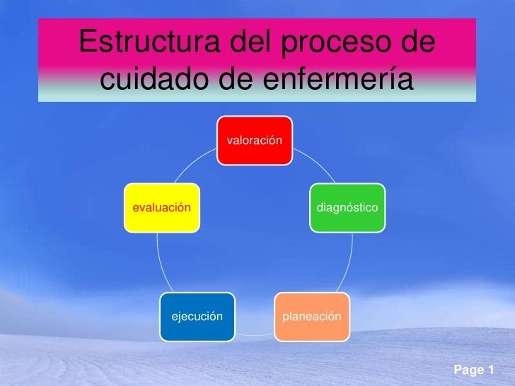 Estructura del proceso de cuidado de enfermería                     valoración   evaluación                          diagn...
