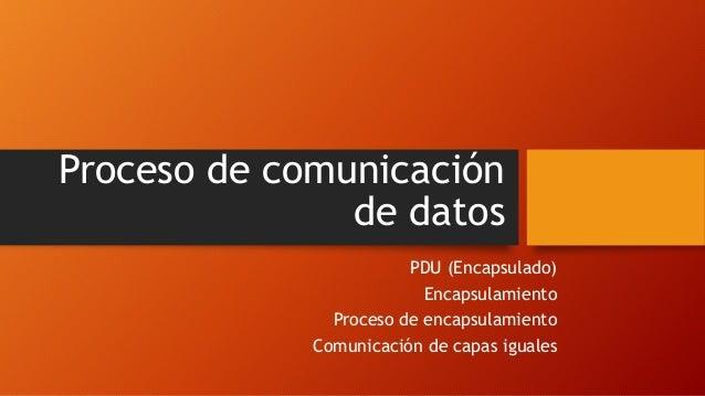 Proceso de comunicación de datos PDU (Encapsulado) Encapsulamiento Proceso de encapsulamiento Comunicación de capas iguales