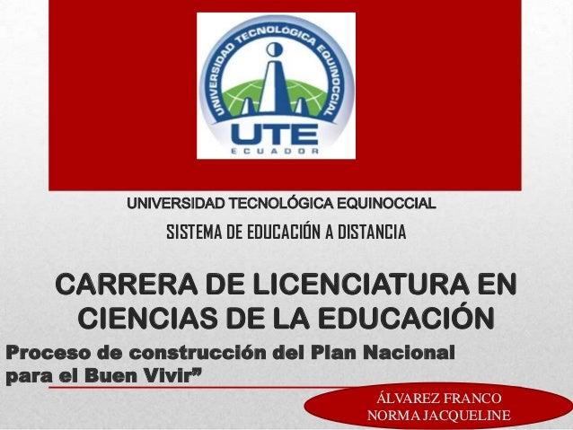 UNIVERSIDAD TECNOLÓGICA EQUINOCCIALSISTEMA DE EDUCACIÓN A DISTANCIACARRERA DE LICENCIATURA ENCIENCIAS DE LA EDUCACIÓNProce...