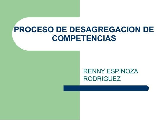 PROCESO DE DESAGREGACION DE COMPETENCIAS RENNY ESPINOZA RODRIGUEZ