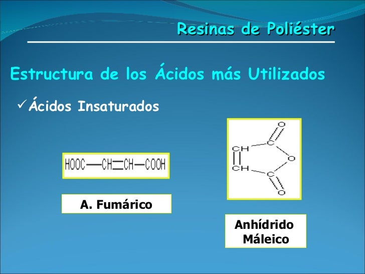 Estructura de los Ácidos más Utilizados   <ul><li>Ácidos Insaturados </li></ul>A. Fumárico Anhídrido  Máleico Resinas de P...