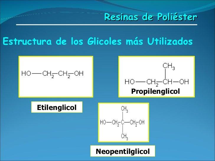 Estructura de los Glicoles más Utilizados   Propilenglicol   Neopentilglicol Resinas de Poliéster Etilenglicol