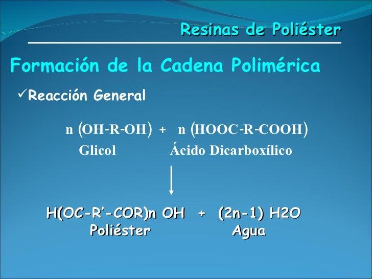 Formación de la Cadena Polimérica   <ul><li>Reacción General </li></ul><ul><li>n (OH-R-OH)  +  n (HOOC-R-COOH)  </li></ul>...