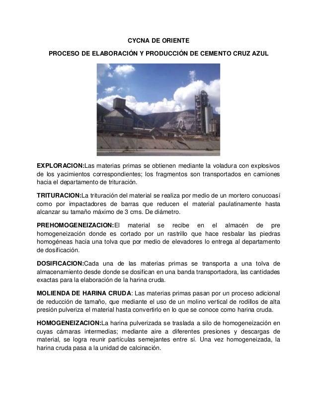 CYCNA DE ORIENTE PROCESO DE ELABORACIÓN Y PRODUCCIÓN DE CEMENTO CRUZ AZUL  EXPLORACION:Las materias primas se obtienen med...