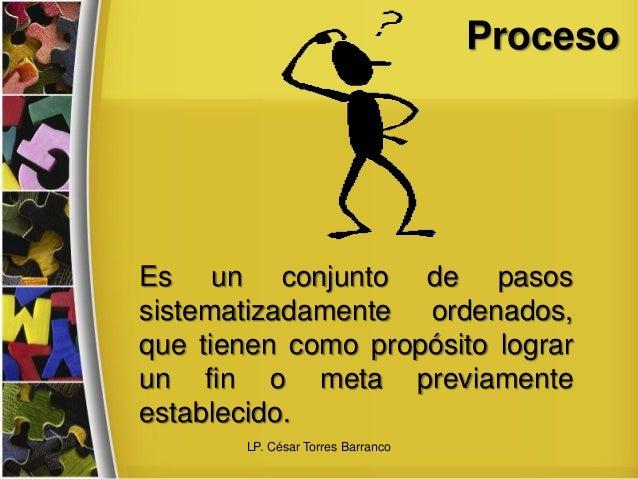 Proceso Es un conjunto de pasos sistematizadamente ordenados, que tienen como propósito lograr un fin o meta previamente e...