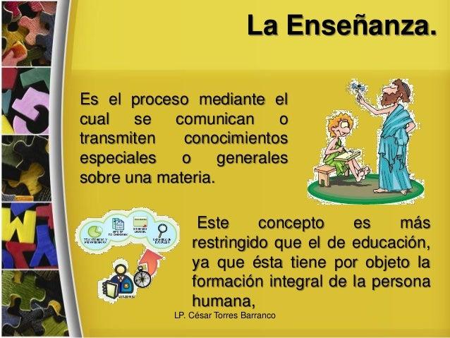 La Enseñanza. Es el proceso mediante el cual se comunican o transmiten conocimientos especiales o generales sobre una mate...