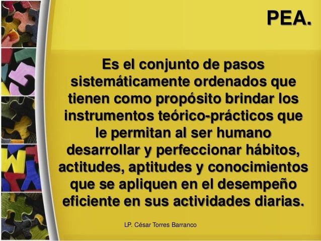 PEA. Es el conjunto de pasos sistemáticamente ordenados que tienen como propósito brindar los instrumentos teórico-práctic...
