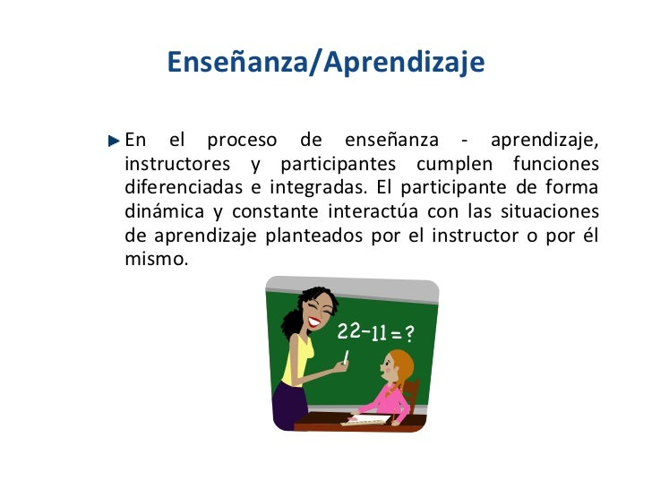 Enseñanza/Aprendizaje <ul><li>En el proceso de enseñanza - aprendizaje, instructores y participantes cumplen funciones dif...