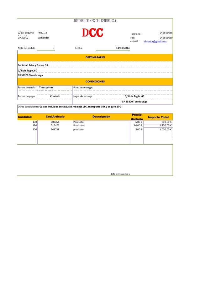 C/ La Esquina Fria, 1-2 Fria, 1-2 Teléfono: 942556688 CP 39002 Santander Fax: 942556689 e-mail: distnica@gmail.com Nota de...