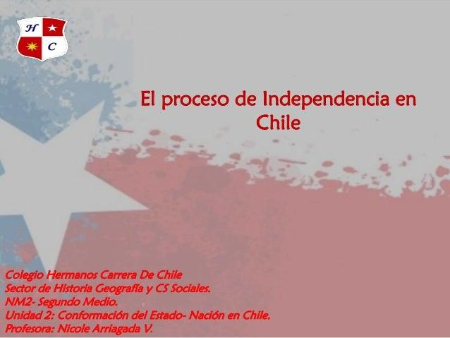 Colegio Hermanos Carrera De Chile Sector de Historia Geografía y CS Sociales. NM2- Segundo Medio. Unidad 2: Conformación d...