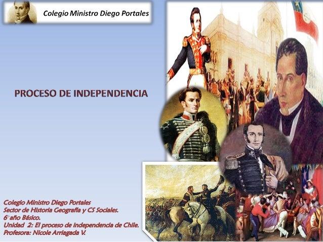 Colegio Ministro Diego Portales Sector de Historia Geografía y CS Sociales. 6°año Básico. Unidad 2: El proceso de independ...