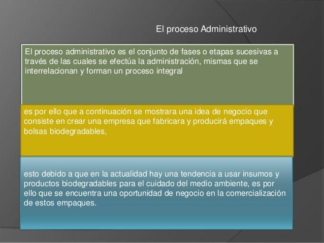 El proceso Administrativo El proceso administrativo es el conjunto de fases o etapas sucesivas a través de las cuales se e...