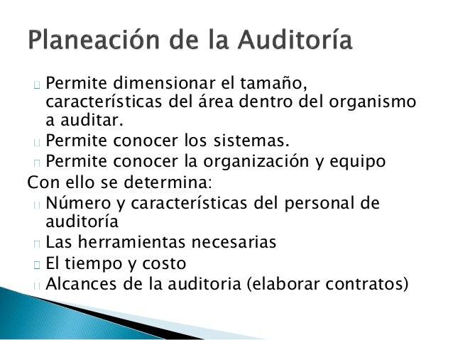 Metas  Programas de trabajo de auditoría  ◦ Actividades que se van a auditar  ◦ Cuándo serán auditadas  ◦ El tiempo estima...