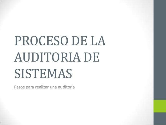 PROCESO DE LAAUDITORIA DESISTEMASPasos para realizar una auditoria