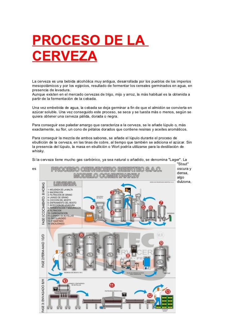 PROCESO DE LACERVEZALa cerveza es una bebida alcohólica muy antigua, desarrollada por los pueblos de los imperiosmesopotám...