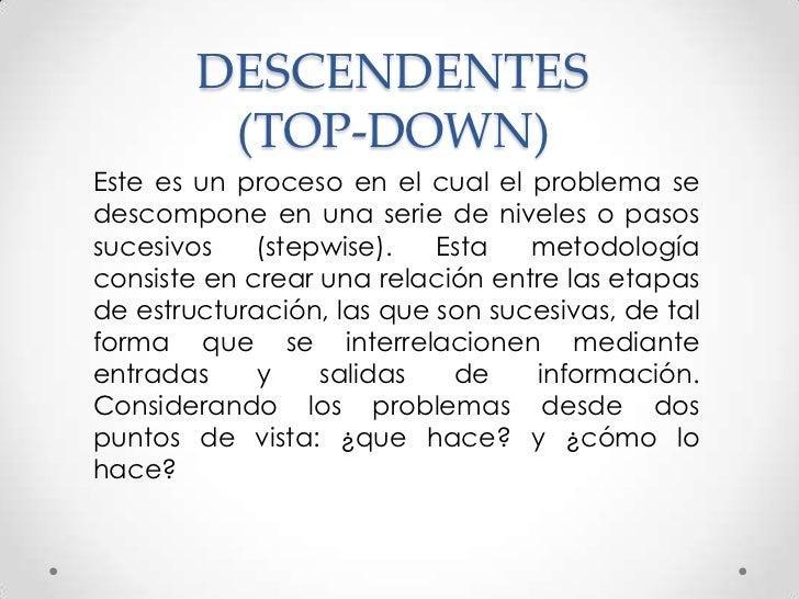 DESCENDENTES         (TOP-DOWN)Este es un proceso en el cual el problema sedescompone en una serie de niveles o pasossuces...