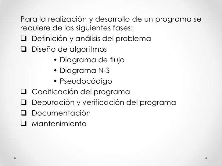 Para la realización y desarrollo de un programa serequiere de las siguientes fases: Definición y análisis del problema D...