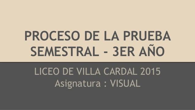 PROCESO DE LA PRUEBA SEMESTRAL - 3ER AÑO LICEO DE VILLA CARDAL 2015 Asignatura : VISUAL
