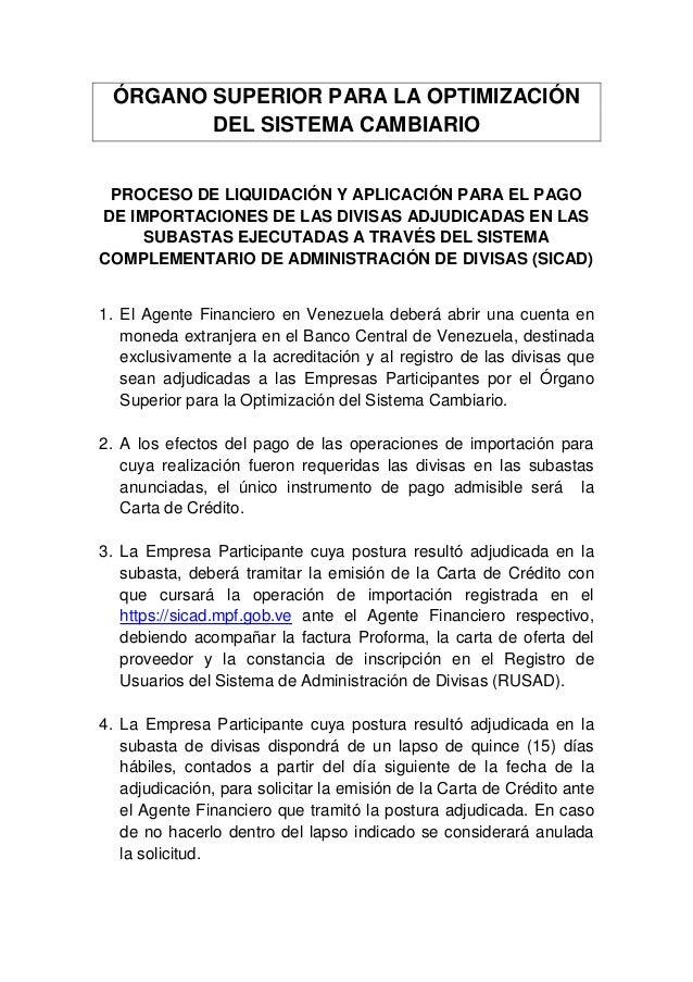 ÓRGANO SUPERIOR PARA LA OPTIMIZACIÓN        DEL SISTEMA CAMBIARIO PROCESO DE LIQUIDACIÓN Y APLICACIÓN PARA EL PAGODE IMPOR...